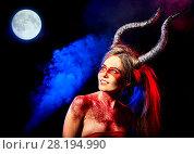 Купить «Black magic ritual of mad satan woman. Halloween moon sky.», фото № 28194990, снято 23 марта 2017 г. (c) Gennadiy Poznyakov / Фотобанк Лори