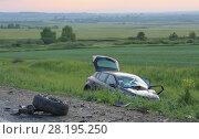 Купить «Broken by car after accident», фото № 28195250, снято 14 июня 2014 г. (c) Юрий Бизгаймер / Фотобанк Лори