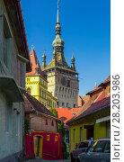 Купить «Illustration of Clock tower from streets of Sighisoara», фото № 28203986, снято 16 сентября 2017 г. (c) Яков Филимонов / Фотобанк Лори