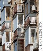 Купить «Балконы. Восьмиэтажный пятиподъездный кирпичный жилой дом серии II-08 (1960). Улица Куусинена, 4a, корпус 1. Хорошевский район. Москва», эксклюзивное фото № 28208570, снято 20 марта 2018 г. (c) lana1501 / Фотобанк Лори