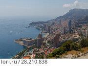 Купить «Panorama of Mediterranean Sea, coast and residential districts of Monaco», фото № 28210838, снято 4 августа 2016 г. (c) Losevsky Pavel / Фотобанк Лори