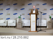 Купить «RUSSIA, MOSCOW - 05 MAR, 2015: Director of museum Vladimir Tolstoy in suit is standing on stage at literary award Yasnaya polyana», фото № 28210882, снято 5 марта 2015 г. (c) Losevsky Pavel / Фотобанк Лори