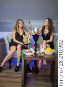 Купить «Two beautiful young women resting with the hookah», фото № 28210902, снято 22 апреля 2015 г. (c) Losevsky Pavel / Фотобанк Лори
