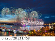 Купить «Crowd on Palace Bridge look at beautiful fireworks at dark night in St. Petersburg, Russia. I have only one version of the photo with sharpening», фото № 28211158, снято 21 июня 2014 г. (c) Losevsky Pavel / Фотобанк Лори