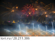 Купить «Big beautiful fireworks and skyscrapers at night in Moscow, Russia», фото № 28211386, снято 4 октября 2015 г. (c) Losevsky Pavel / Фотобанк Лори