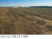Купить «KRASNODAR REGION, RUSSIA - AUG 19, 2015: Tractor plow big field, In 2015 in Krasnodar region have collected record grain harvest - 102 million tons of grain», фото № 28211466, снято 19 августа 2015 г. (c) Losevsky Pavel / Фотобанк Лори
