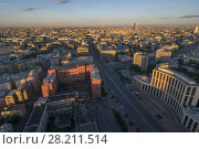 Купить «View from Business Center Domnikov to Sakharov avenue during sunrise in Moscow, Russia», фото № 28211514, снято 5 августа 2016 г. (c) Losevsky Pavel / Фотобанк Лори
