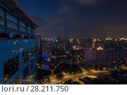 Купить «Night Shanghai - many buildings with illumination,  view from Hyatt on Bund Hotel», фото № 28211750, снято 14 августа 2015 г. (c) Losevsky Pavel / Фотобанк Лори