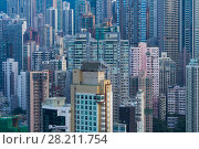 Купить «Skyscrapers and modern tall residential buildings in Hong Kong, China, view from China Merchants Tower», фото № 28211754, снято 31 августа 2015 г. (c) Losevsky Pavel / Фотобанк Лори