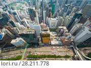 Купить «Skyscrapers, buildings, highway in Hong Kong city, China at sunny day, top view from China Resources Building», фото № 28211778, снято 1 сентября 2015 г. (c) Losevsky Pavel / Фотобанк Лори