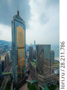 Купить «Glass Central Plaza, sea shore in Hong Kong city, China at cloudy day, view from China Resources Building», фото № 28211786, снято 1 сентября 2015 г. (c) Losevsky Pavel / Фотобанк Лори