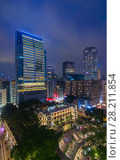 Купить «Skyscrapers and classical building with columns, stairs and galleries at night in Hong Kong, China, view from Starhouse», фото № 28211854, снято 5 сентября 2015 г. (c) Losevsky Pavel / Фотобанк Лори