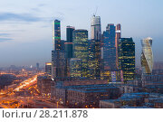MOSCOW - APR 8, 2016: Modern Moscow International Business Center at evening. Years of construction of complex - 1995-2018. Редакционное фото, фотограф Losevsky Pavel / Фотобанк Лори