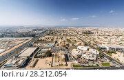 Sawta area and Jumeirah area far away, sea on horizon at sunny day in Dabai, UAE (2017 год). Стоковое фото, фотограф Losevsky Pavel / Фотобанк Лори