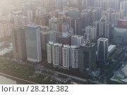 Купить «Guangzhou city near Zhujiang river in fog, China, top morning view», фото № 28212382, снято 21 августа 2015 г. (c) Losevsky Pavel / Фотобанк Лори