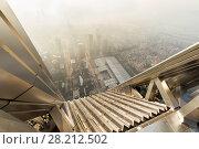 Купить «Skyscraper roof and sunny morning Shenzhen in mist, China, top view», фото № 28212502, снято 26 августа 2015 г. (c) Losevsky Pavel / Фотобанк Лори