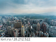 Купить «Skyscrapers and mountains in fog, view from Panglin Plaza, Shenzhen, China», фото № 28212522, снято 27 августа 2015 г. (c) Losevsky Pavel / Фотобанк Лори