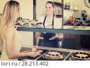 Купить «portrait of young happy woman baker with tasty cakes and rolls», фото № 28213402, снято 22 апреля 2017 г. (c) Яков Филимонов / Фотобанк Лори