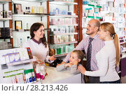 Купить «Family in a pharmacy», фото № 28213426, снято 7 июня 2020 г. (c) Яков Филимонов / Фотобанк Лори