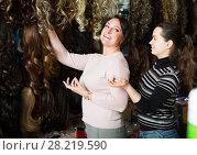 Купить «Female choosing clip-in natural hair extension», фото № 28219590, снято 17 октября 2018 г. (c) Яков Филимонов / Фотобанк Лори