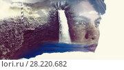 Купить «Composite image of waterfall in the void and stone», фото № 28220682, снято 24 августа 2019 г. (c) Wavebreak Media / Фотобанк Лори