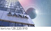 Купить «Tall buildings bank with world globe background», фото № 28220910, снято 20 марта 2019 г. (c) Wavebreak Media / Фотобанк Лори