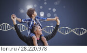 Купить «Father and son with sparkles and genetic DNA», фото № 28220978, снято 13 июля 2019 г. (c) Wavebreak Media / Фотобанк Лори