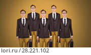 Купить «Clone businessmen standing with yellow background», фото № 28221102, снято 18 ноября 2018 г. (c) Wavebreak Media / Фотобанк Лори