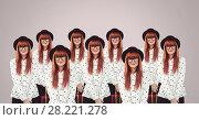 Купить «Clone femme in group», фото № 28221278, снято 28 февраля 2020 г. (c) Wavebreak Media / Фотобанк Лори
