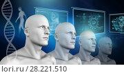 Купить «Clone 3D men with genetic DNA», фото № 28221510, снято 22 октября 2019 г. (c) Wavebreak Media / Фотобанк Лори