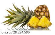 Купить «Cut off top of pineapple with leaves, next to slices isolated on white», фото № 28224590, снято 22 декабря 2017 г. (c) Сергей Молодиков / Фотобанк Лори