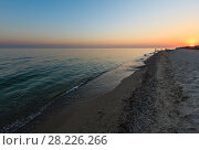 Купить «Sunset above camping on Azov sea sandy shore (Kherson Region, Ukraine)», фото № 28226266, снято 11 августа 2017 г. (c) Юрий Брыкайло / Фотобанк Лори
