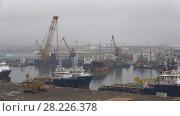 Пасмурное январское утро в бухте Ильича. Бакинский грузовой порт, Азербайджан (2018 год). Редакционное видео, видеограф Виктор Карасев / Фотобанк Лори