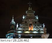 Купить «Night winter Bernardine Church and monastery top, Lviv city, Ukraine», фото № 28226462, снято 10 декабря 2017 г. (c) Юрий Брыкайло / Фотобанк Лори