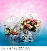Купить «Blossom of beautiful flowers roses», фото № 28227378, снято 13 февраля 2018 г. (c) ElenArt / Фотобанк Лори