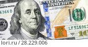 Купить «Banknote of one hundred american dollar with portrait of Benjamin Franklin», фото № 28229006, снято 23 марта 2019 г. (c) FotograFF / Фотобанк Лори
