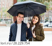 Купить «couple walking under umbrella at autumn day», фото № 28229754, снято 19 июля 2018 г. (c) Яков Филимонов / Фотобанк Лори