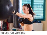 Купить «Strong woman in time of workout at boxer club», фото № 28230150, снято 21 марта 2018 г. (c) Владимир Мельников / Фотобанк Лори