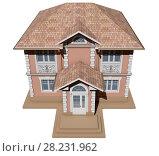 Купить «Вид сверху на розовый и симметричный коттедж. 3D рендер макета жилого дома», иллюстрация № 28231962 (c) Elizaveta Kharicheva / Фотобанк Лори