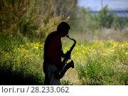 Купить «Silhouette of a saxophonist in a stationary, Altea, Alicante, Spain», фото № 28233062, снято 15 апреля 2017 г. (c) age Fotostock / Фотобанк Лори