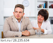 Купить «woman tries to persuade man», фото № 28235634, снято 16 августа 2018 г. (c) Яков Филимонов / Фотобанк Лори