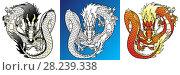 Купить «Набор изолированных вариантов летящего азиатского дракона: черно-белый дракон металла, желто-красный дракон огня и черный контур на белом фоне. Иллюстрация в мультипликационном стиле. Страница раскраски», иллюстрация № 28239338 (c) Анастасия Некрасова / Фотобанк Лори