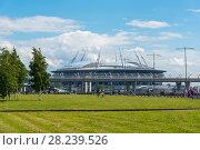 Купить «Вид на стадион Санкт-Петербург арена из парка 300-летия Санкт-Петербурга», эксклюзивное фото № 28239526, снято 25 июня 2017 г. (c) Александр Щепин / Фотобанк Лори