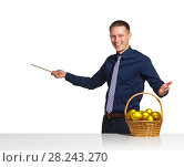 Купить «Businessman shows scheme of successful business», фото № 28243270, снято 15 апреля 2016 г. (c) Владимир Мельников / Фотобанк Лори