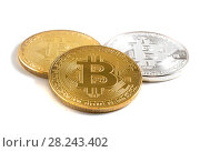 Купить «Монеты биткоин на белом фоне», фото № 28243402, снято 13 августа 2017 г. (c) Литвяк Игорь / Фотобанк Лори