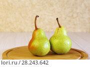 Купить «Еда, полезный десерт. Фруктовая диета. Две свежих груши.», фото № 28243642, снято 18 марта 2018 г. (c) Светлана Евграфова / Фотобанк Лори