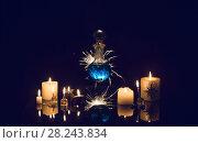 Купить «magic potions on a blue background», фото № 28243834, снято 30 марта 2018 г. (c) Майя Крученкова / Фотобанк Лори