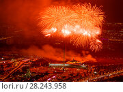 Салют (фейерверк) в Москве на День защитника Отечества (2018 год). Редакционное фото, фотограф Алексей Бок / Фотобанк Лори
