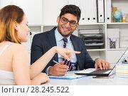 Купить «Colleagues meeting in office», фото № 28245522, снято 1 июня 2017 г. (c) Яков Филимонов / Фотобанк Лори