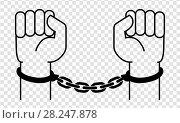 Купить «Handcuffs on the hands of the criminal», иллюстрация № 28247878 (c) Сергей Лаврентьев / Фотобанк Лори